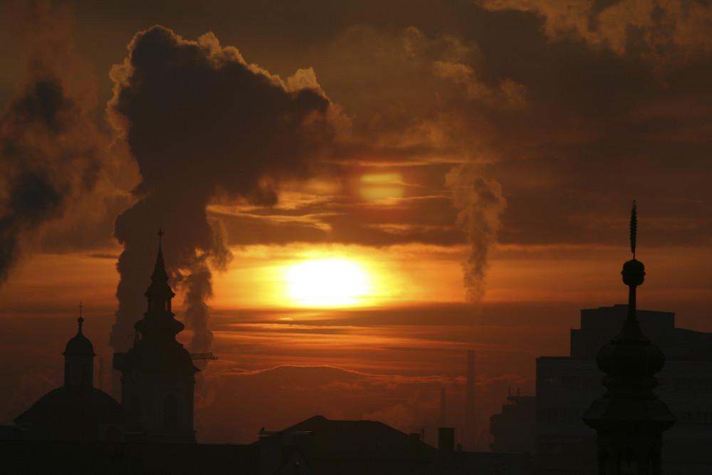 Sonnenaufgang über Linz
