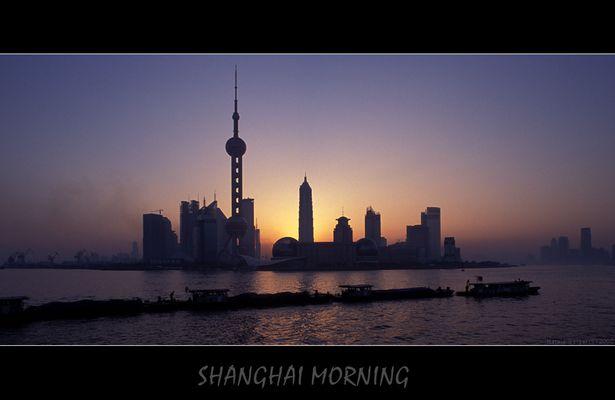 Sonnenaufgang ueber Pudong
