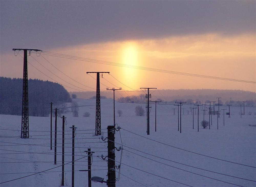 Sonnenaufgang zum Wintereinbruch heute morgen