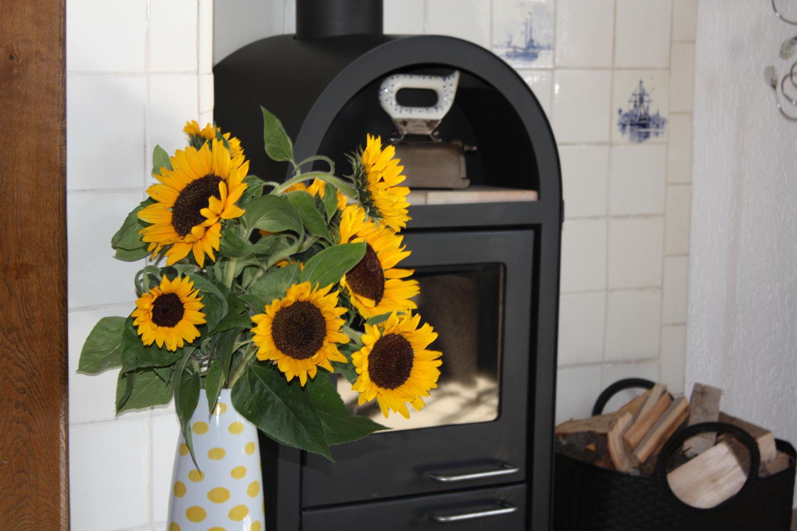 Sonnenblumen mit ofen