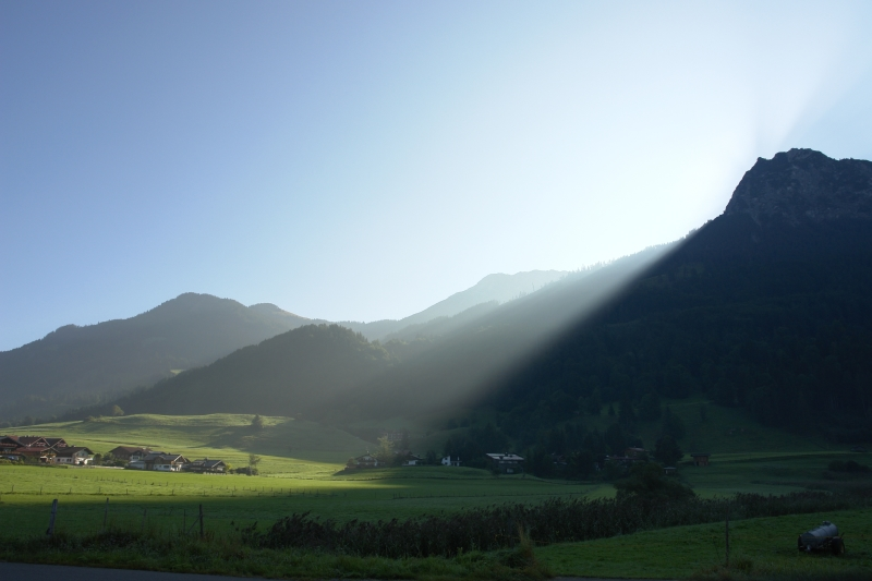 Sonnenschein in den Bergen