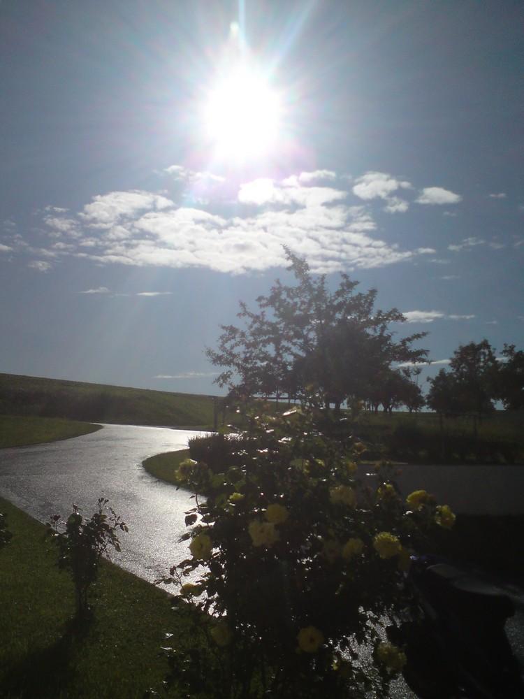 Sonnenschein nach Regen.