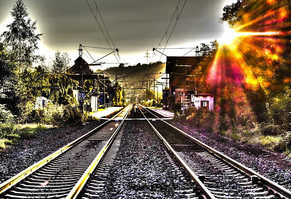 Sonnenspiel mit den Gleisen