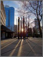 Sonnenuntegang zwischen den Hochhäusern von Frankfurt am Main