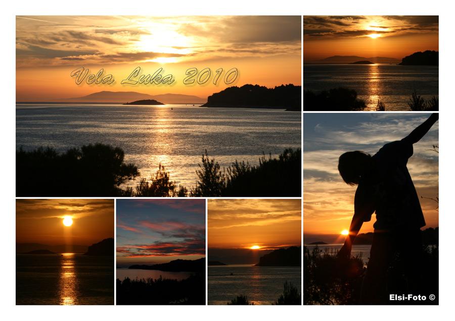 Sonnenuntergänge in Vela Luka, Kroatien