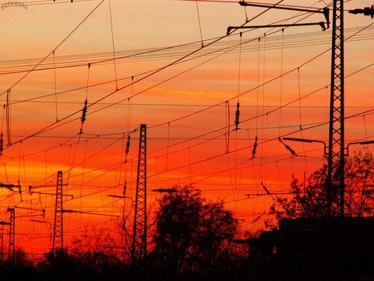 Sonnenuntergang am Altenessener Bahnhof