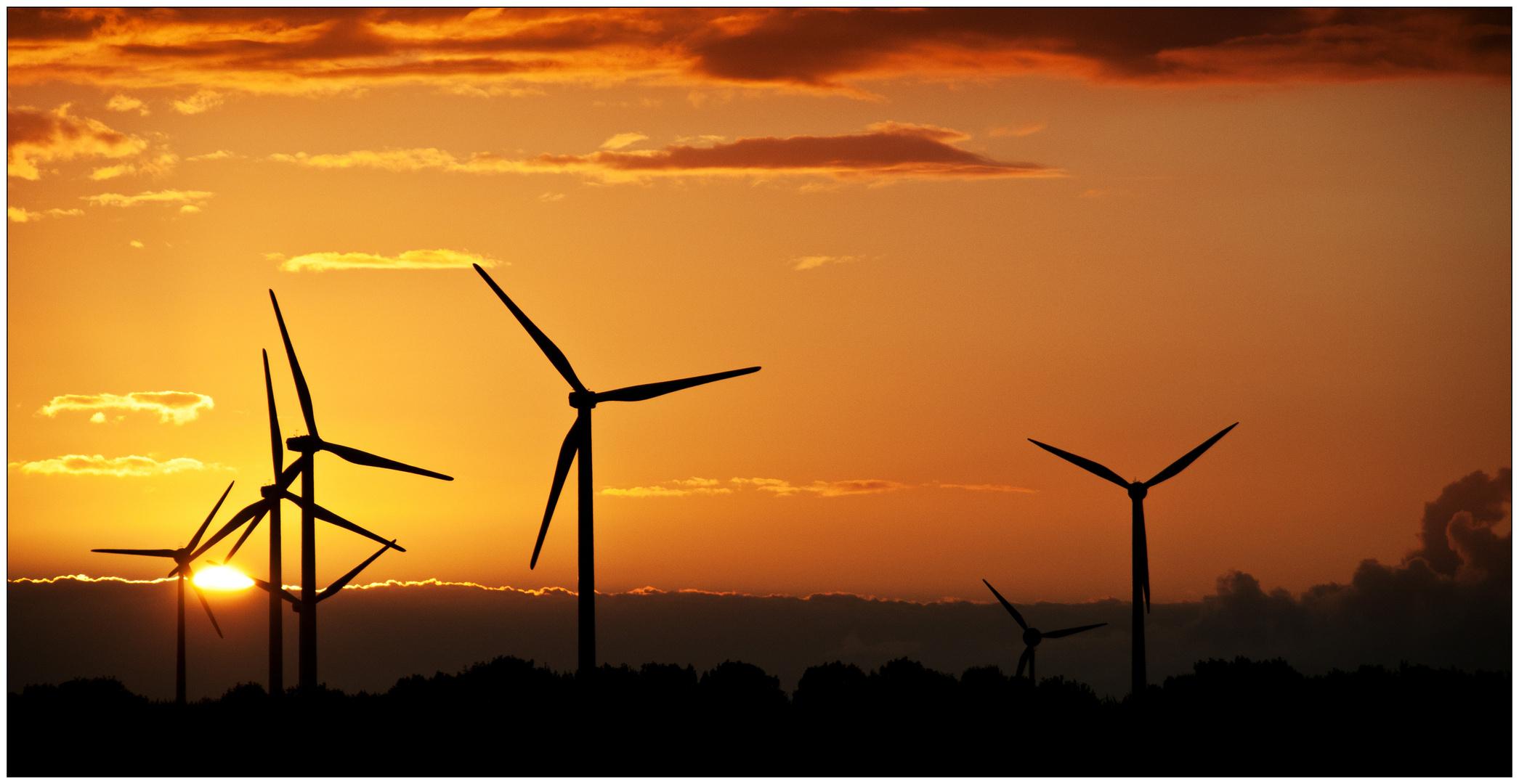 "Sonnenuntergang am ""Berg der erneuerbaren Energien"""