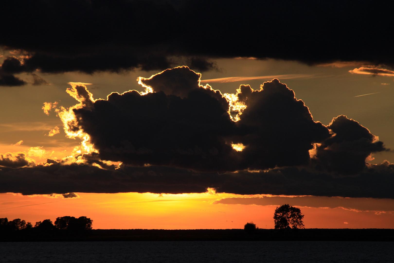 Sonnenuntergang am Bodden bei Zingst