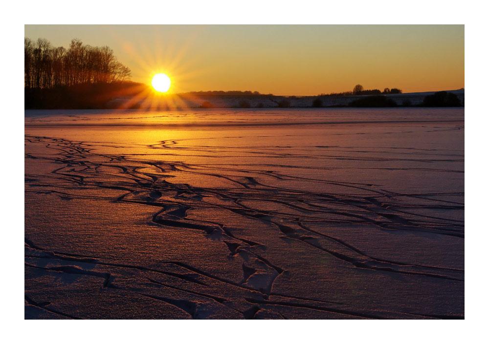 Sonnenuntergang am Brinkenweiher