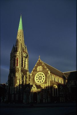 Sonnenuntergang am Cathedral Square in Christchurch