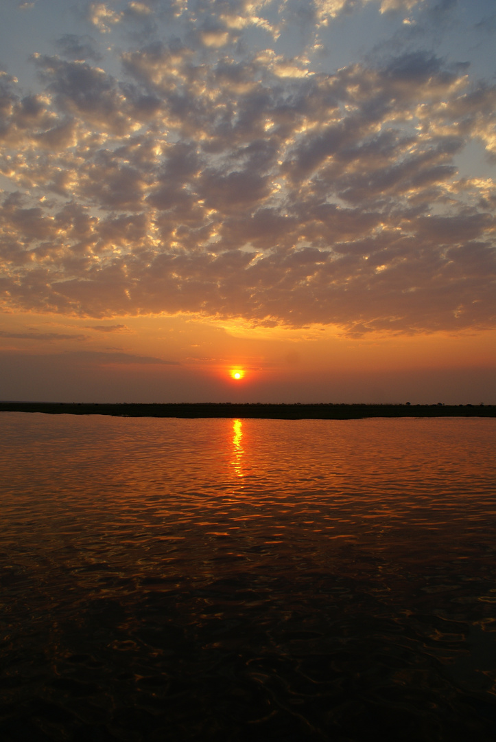 Sonnenuntergang am Chobe river, Botswana