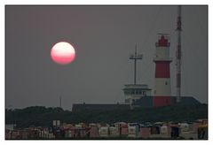 Sonnenuntergang am elektrischen Leuchtturm