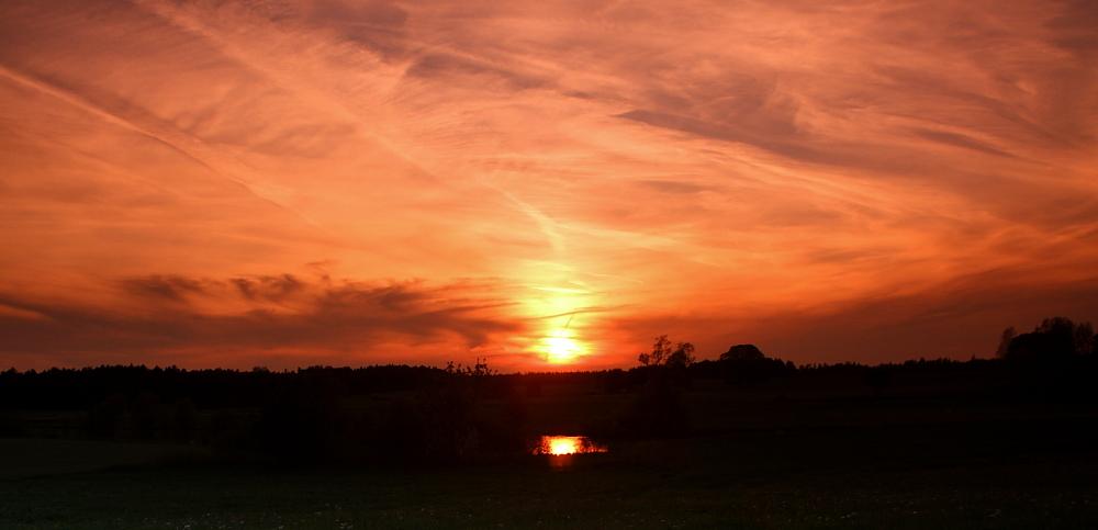 Sonnenuntergang am Eschenbacher Weiher