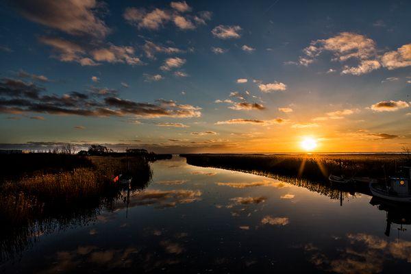 Sonnenuntergang am Fjord