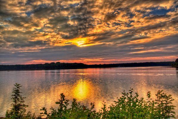 Sonnenuntergang am Halterner Stausee