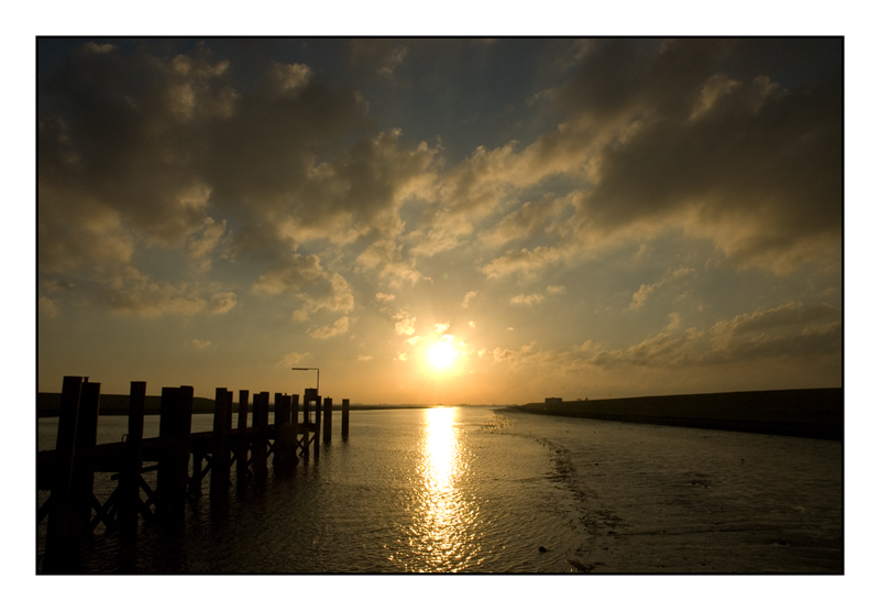 Sonnenuntergang am Husumer Dockkoog