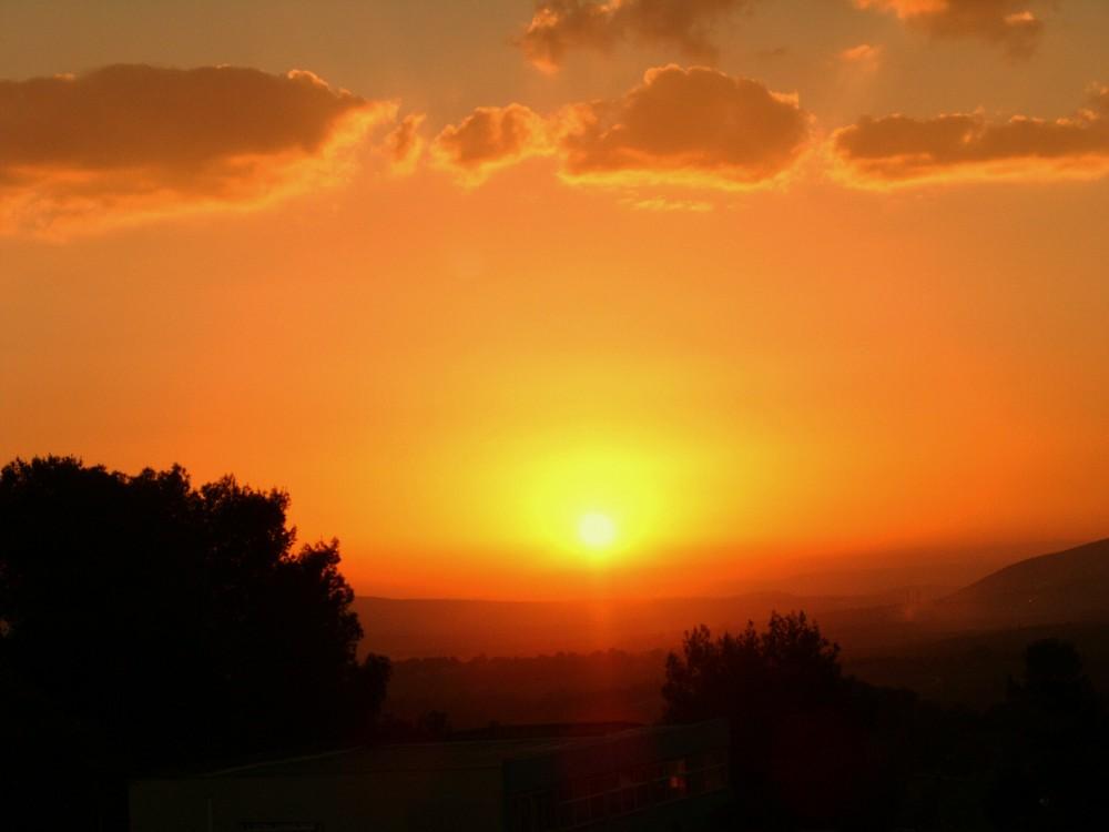 Sonnenuntergang am Kibbutz