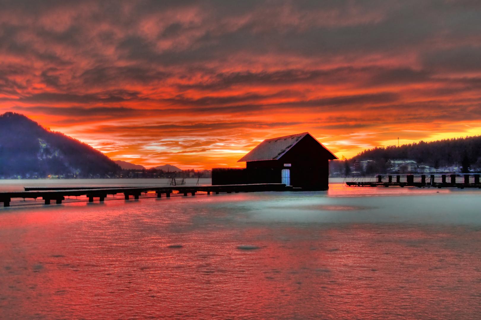 Sonnenuntergang am Klopeinersee