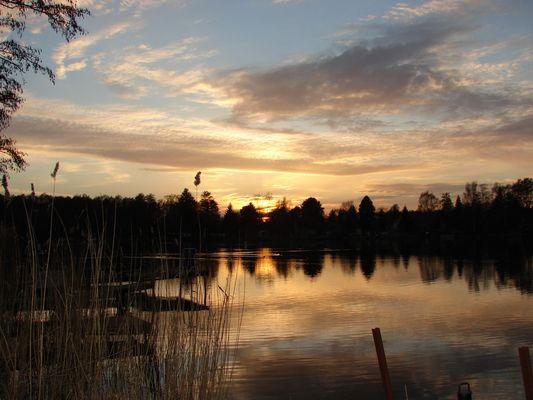 Sonnenuntergang am Krossinsee im Februar