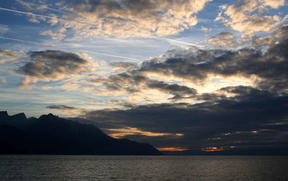 Sonnenuntergang am Lac Léman