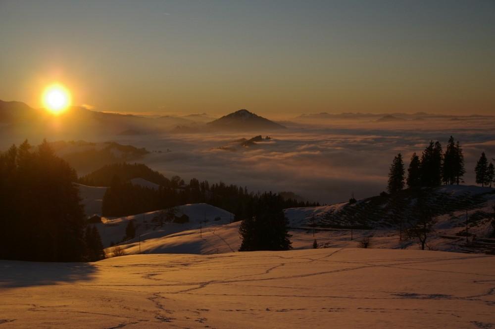 Sonnenuntergang am Neujahrsabend