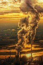 Sonnenuntergang am Niederrhein aus 2500ft