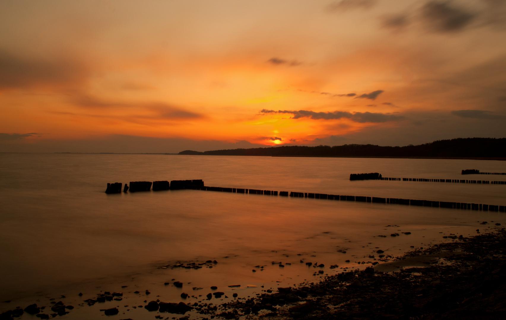 Sonnenuntergang am Oderhaff
