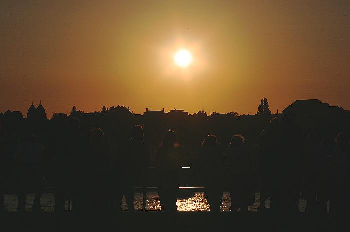 Sonnenuntergang am Rathausufer