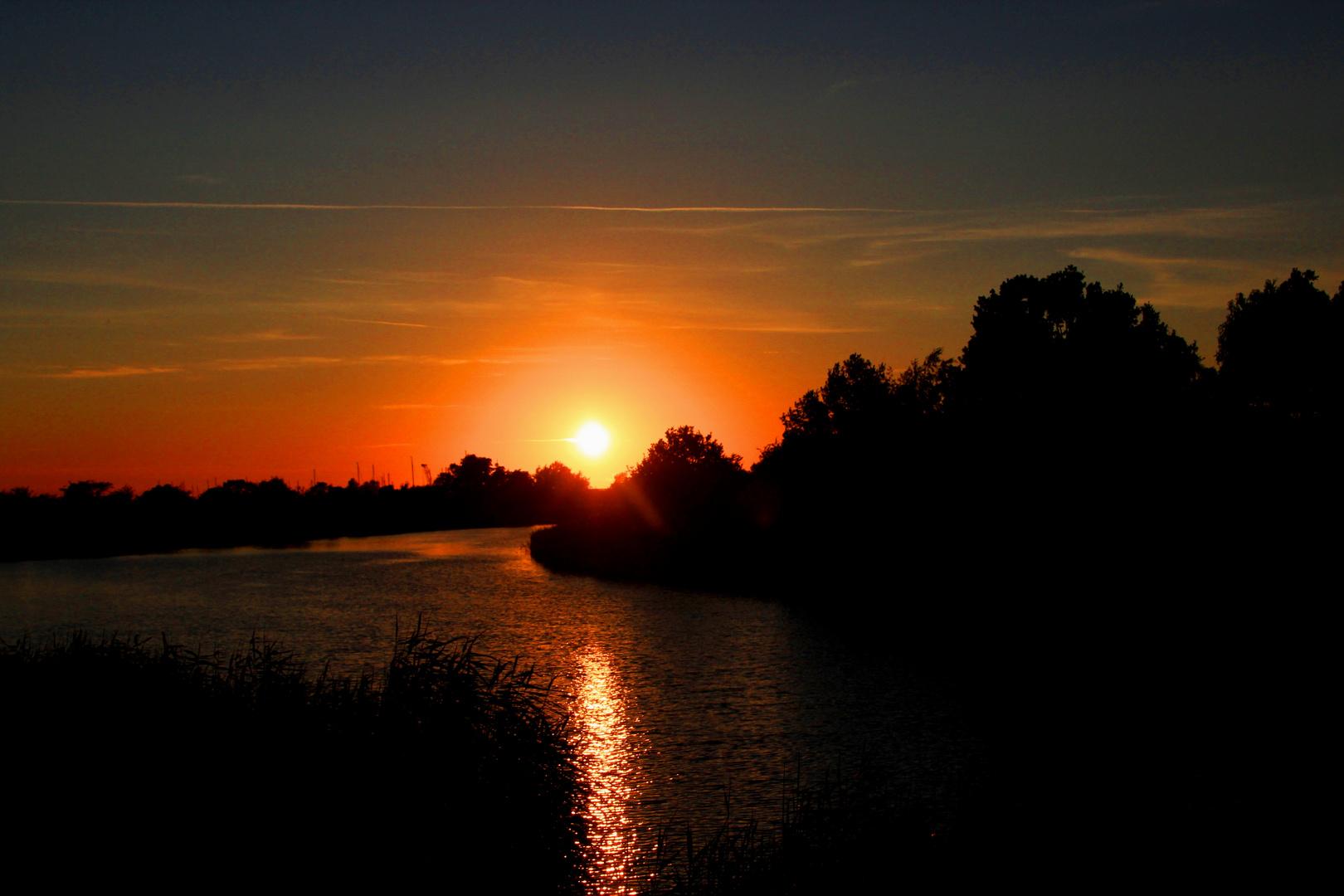 Sonnenuntergang am Ryck,Greifswald