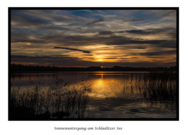 Sonnenuntergang am Schladitzer See