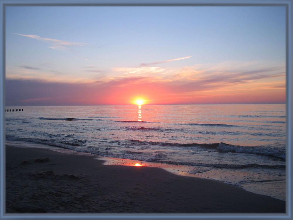 Sonnenuntergang am Strand in Polen