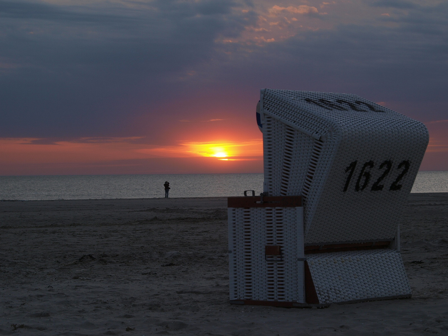 Sonnenuntergang am Strand in St. Peter Ording