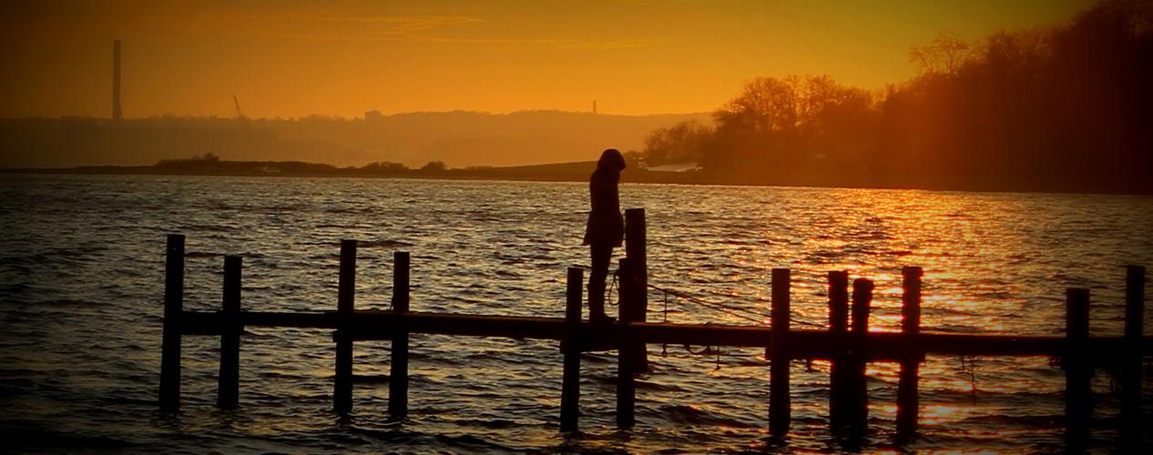 Sonnenuntergang am Süderhaff