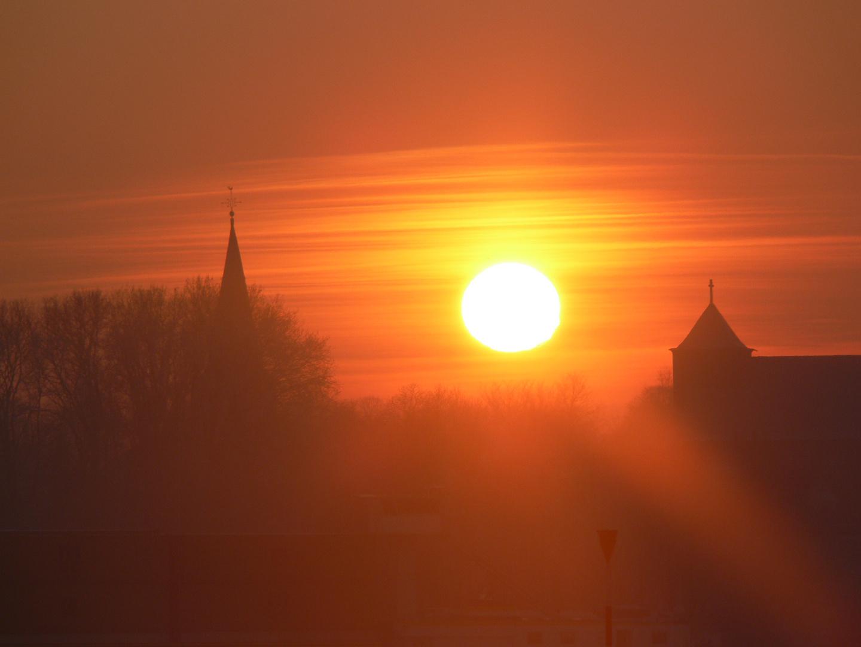 Sonnenuntergang an den Rheinauen in Walsum