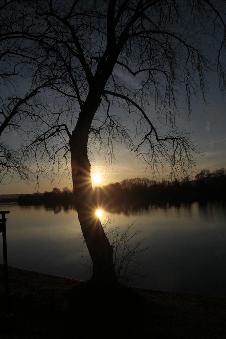 Sonnenuntergang an der Donau