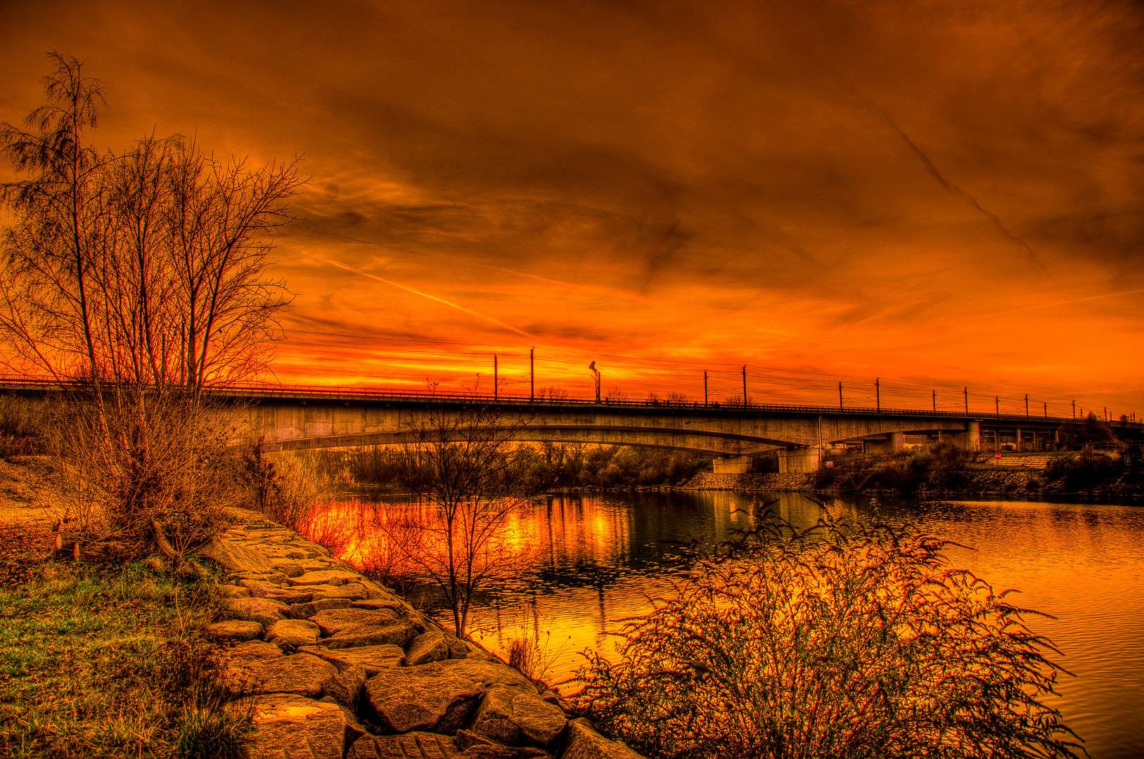 Sonnenuntergang an der Enns