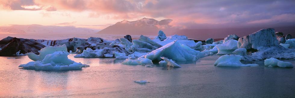 Sonnenuntergang an der Gletscherlagune Jökulsárlón