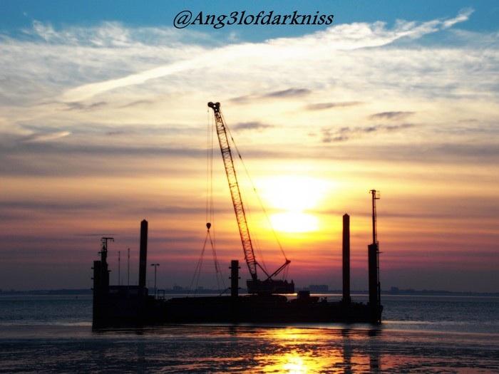 Sonnenuntergang an der Knock ( Ostfriesland )