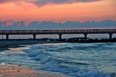 Sonnenuntergang an der Schönberger Strandbrücke (Ostsee)