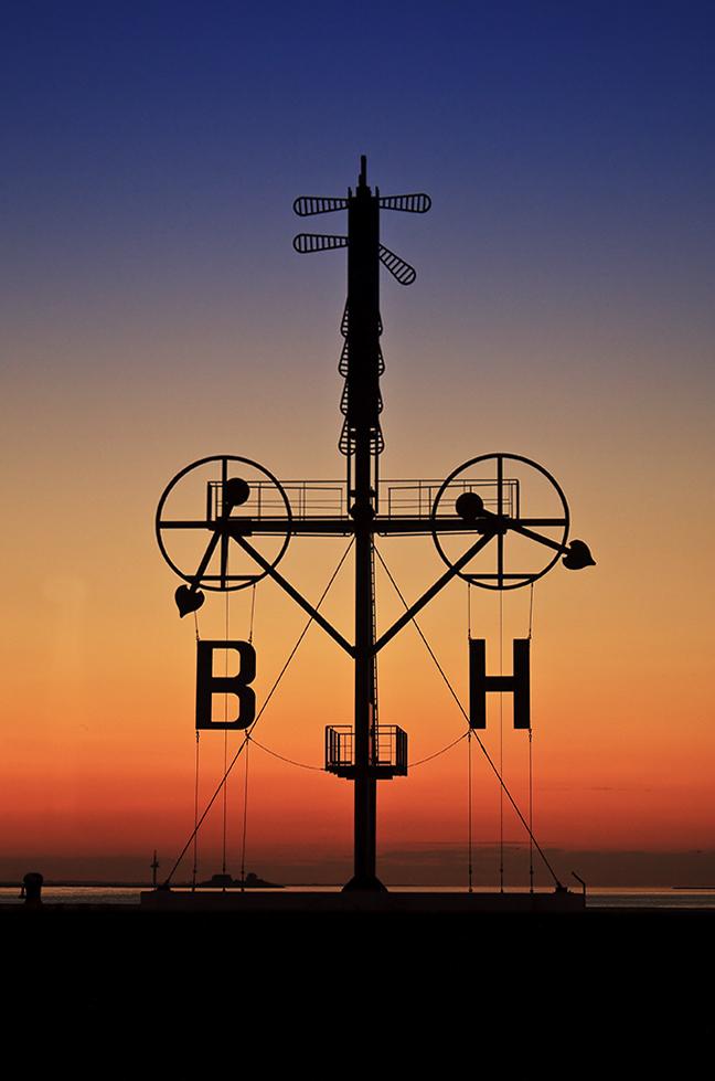 Sonnenuntergang an der Sportbootschleuse