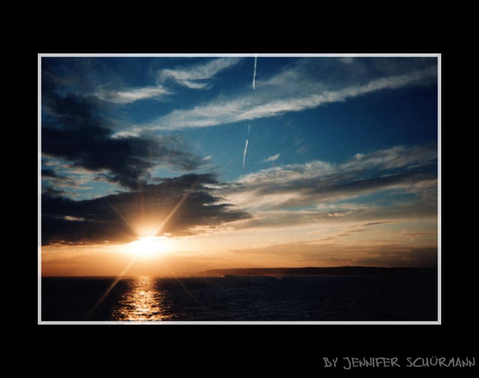 Sonnenuntergang an der südlichen Küste Englands