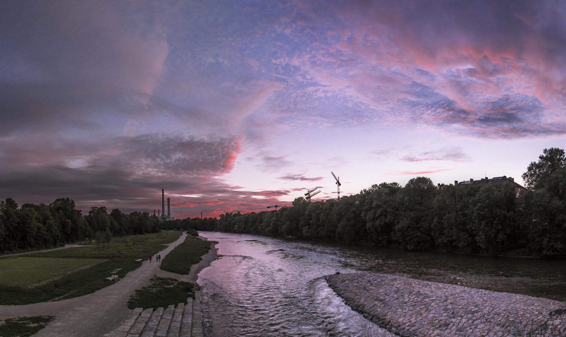 Sonnenuntergang an der Wittelsbacherbrücke