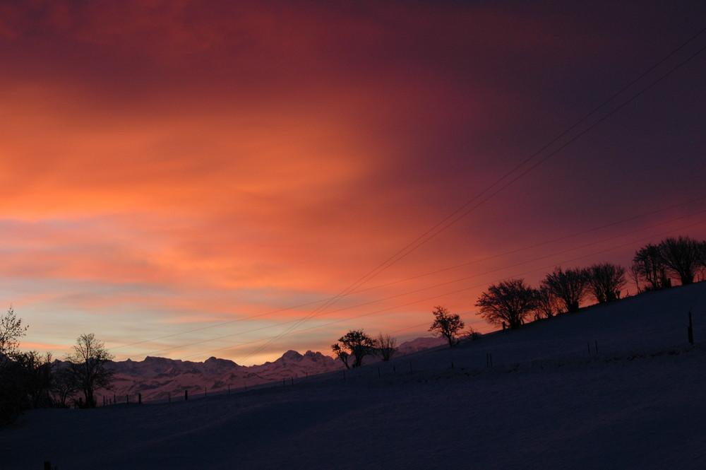 Sonnenuntergang auf 950m.ü.M