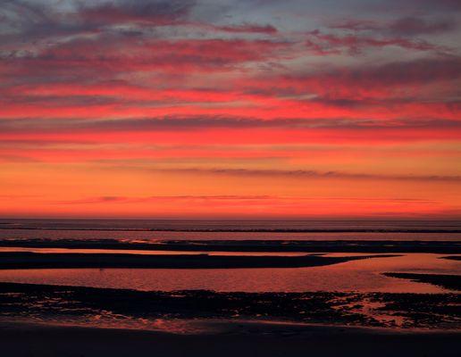 Sonnenuntergang auf Amrum bei Ebbe