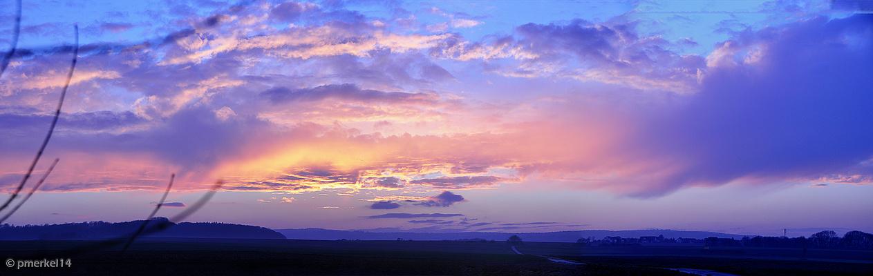 Sonnenuntergang auf dem heutigen Weg nach Hause