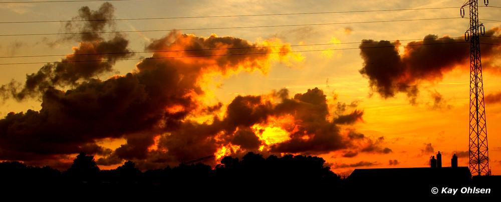 Sonnenuntergang auf dem Lande Dänemarks