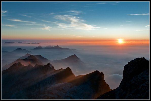 Sonnenuntergang auf dem Säntis