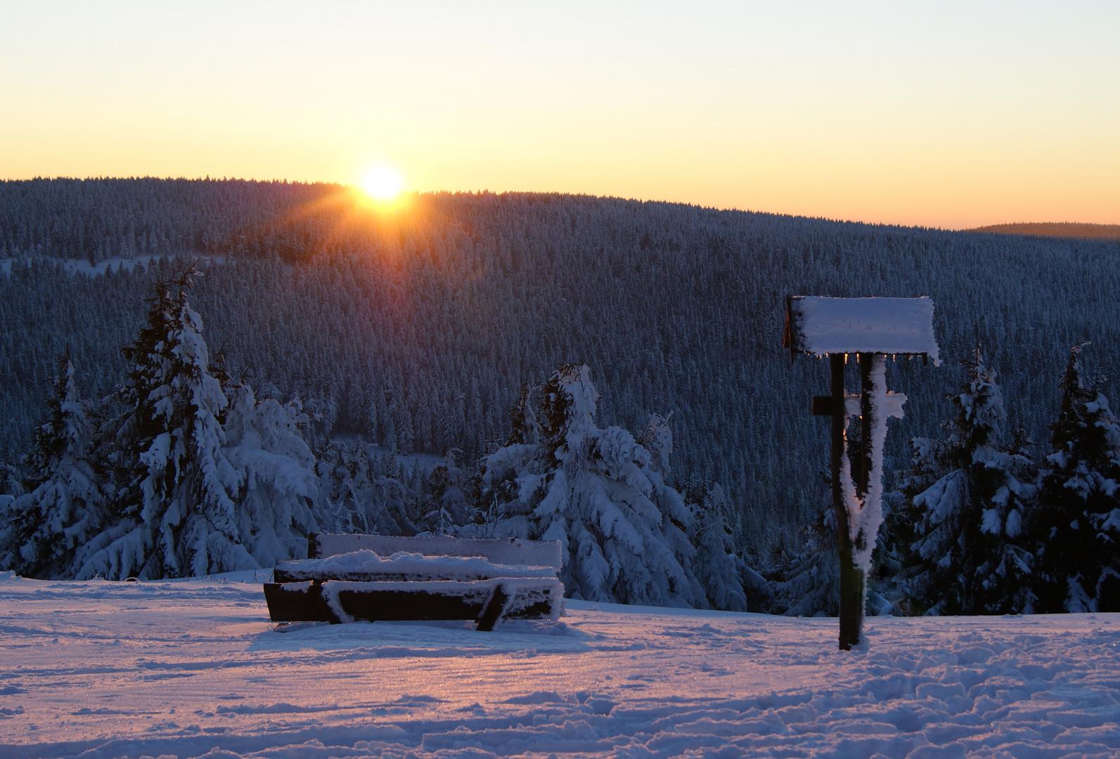 Sonnenuntergang auf dem Schneekopf/ Thüringen