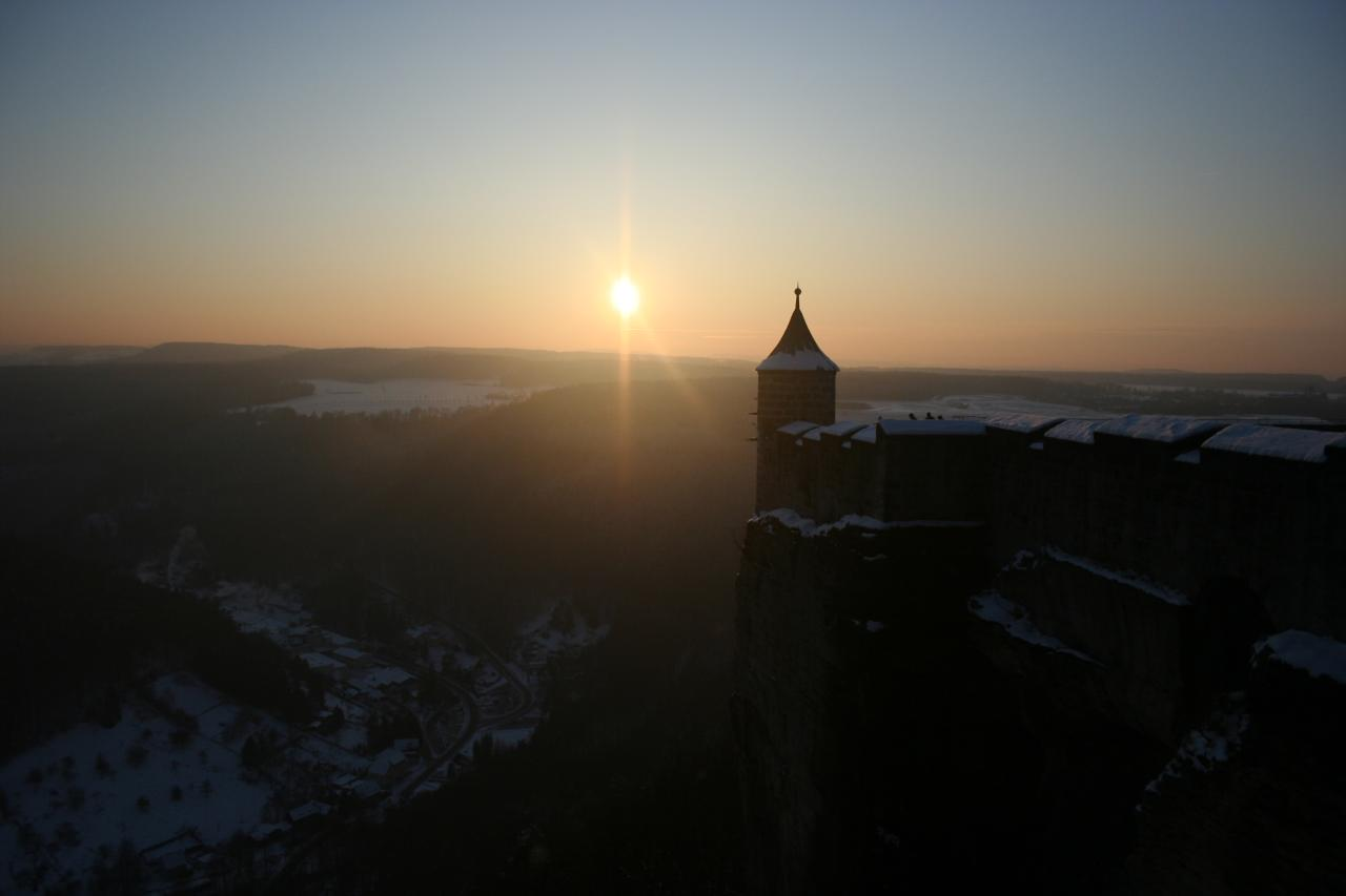 Sonnenuntergang auf der Festung Königstein