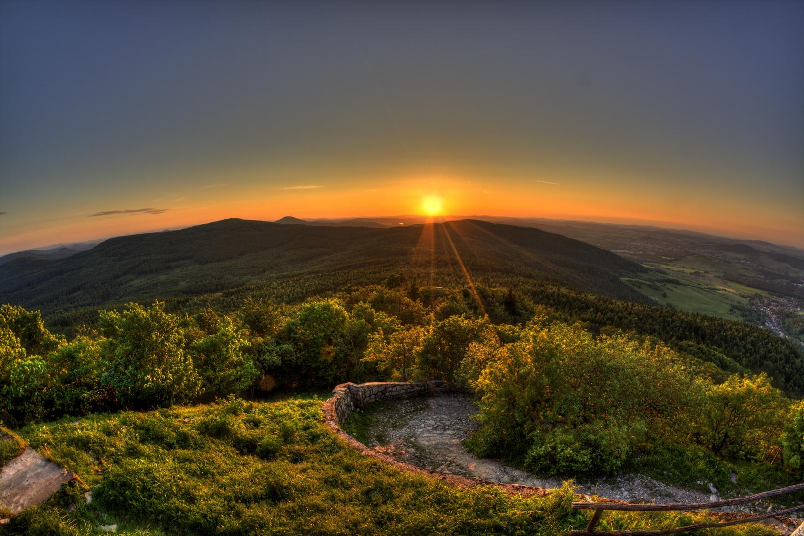 Sonnenuntergang auf der Lausche